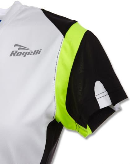 Dámské funkční tričko Rogelli EABEL, bílo-černo-reflexní žluté