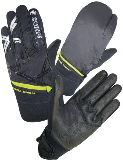 Středně hřejivé zimní rukavice Chiba OVERFLAP s integrovaným návlekem proti větru, černá-reflexní-žlutá