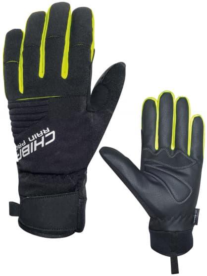 Silně hřejivé zimní rukavice Chiba RAIN TOUCH s nepromokavou membránou, černo-reflexní žlutá