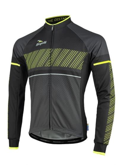 Cyklistický dres Rogelli RITMO s dlouhým rukávem, černo-reflexní žlutý