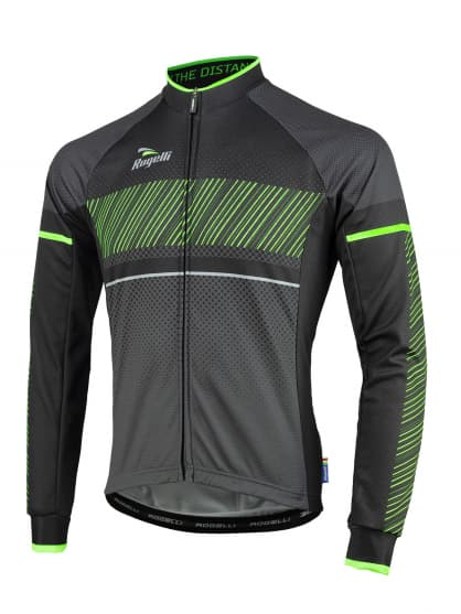 Cyklistický dres Rogelli RITMO s dlouhým rukávem, černo-zelený