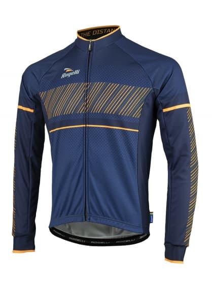 Cyklistický dres Rogelli RITMO s dlouhým rukávem, modro-oranžový