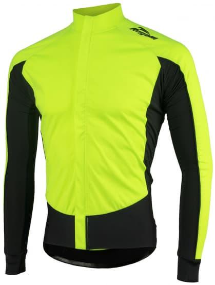 Vodě a větru odolný cyklistický dres s dlouhým rukávem Rogelli W2 se softshellem a DWR, reflexní žlutá-černá