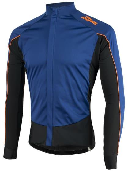 Vodě a větru odolný cyklistický dres s dlouhým rukávem Rogelli W2 se softshellem a DWR, modro-oranžový