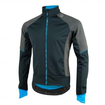Softshellová bunda se silným zateplením Rogelli TRANI 4.0 s prodyšným zádovým panelem, černo-modrá