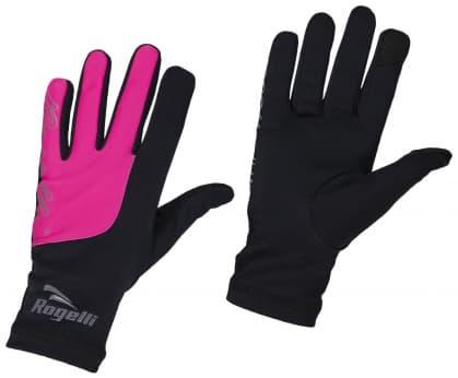 Dámské běžecké zimní rukavice Rogelli TOUCH, černo-růžové