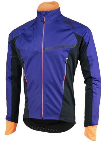 Lehká a extraprodyšná sofshellová bunda Rogelli CONTENTO s moderními detaily, modro-černo-oranžová
