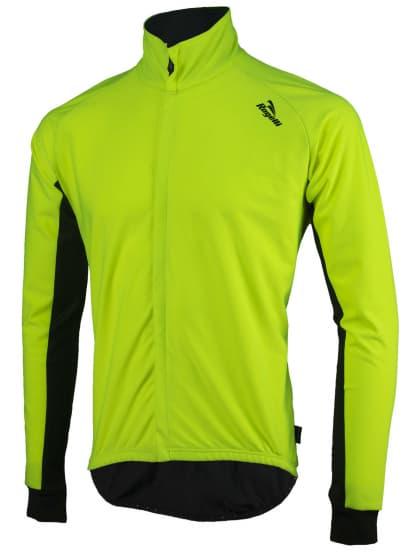 Vodě a větru odolný cyklistický dres s dlouhým rukávem Rogelli ALL SEASONS se softshellem a DWR, reflexní žluto-černý