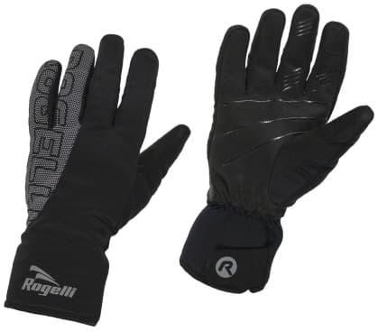 Zimní softshellové rukavice Rogelli FLASH s velkým reflexním potiskem, černé