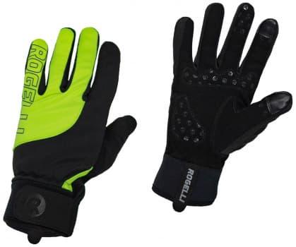 Slabší zimní gelové cyklistické rukavice Rogelli STORM, černo-reflexní žluté