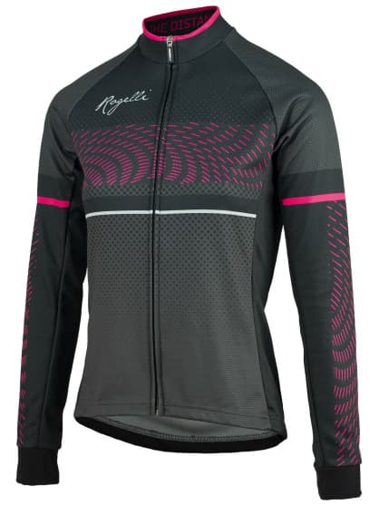 Dámský cyklistický dres Rogelli BELLA s dlouhým rukávem, černo-růžový