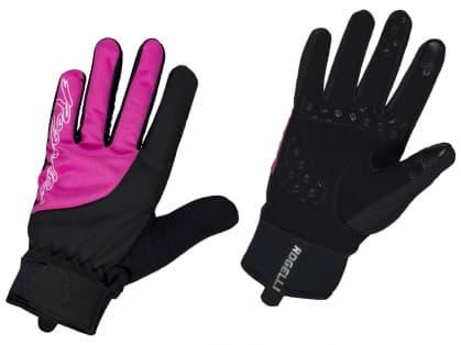Dámské zimní gelové cyklistické rukavice Rogelli STORM, černo-růžové