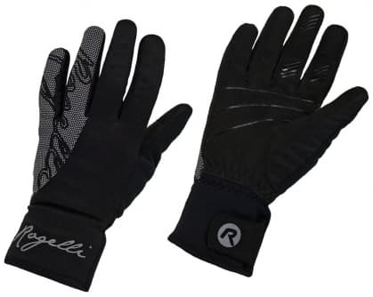 Dámské zimní softshellové rukavice Rogelli FLASH s velkým reflexním potiskem, černé