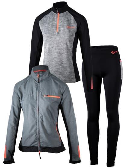 Dámské běžecké oblečení Rogelli DYNAMIC, šedo-růžové