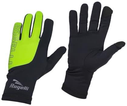 Pánské běžecké zimní rukavice Rogelli TOUCH, černo-reflexní žluté