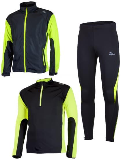 Funkční běžecké oblečení Rogelli D-MEN, černo-reflexní žluté
