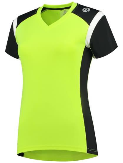 Dámské funkční triko Rogelli EABEL, reflexní žluté-černo-bílé