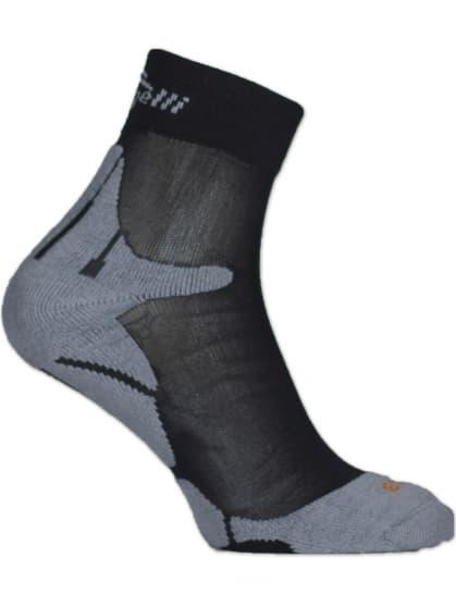 Speciální středně hřejivé ponožky se zesílenou špičkou a patou Rogelli COOLMAX RUN, černo-šedé