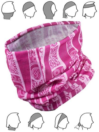 Multifunkční bezešvý šátek Rogelli SCARF, růžový