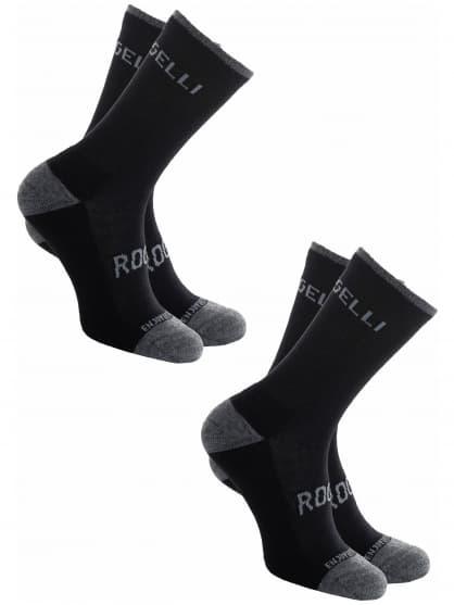 Funkční zimní ponožky Rogelli MERINO - 2 páry různé velikosti, černé