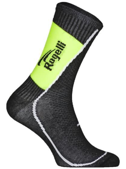 Středně silné funkční ponožky s mírnou kompresí Rogelli THERMOCOOL, černo-reflexní žluté