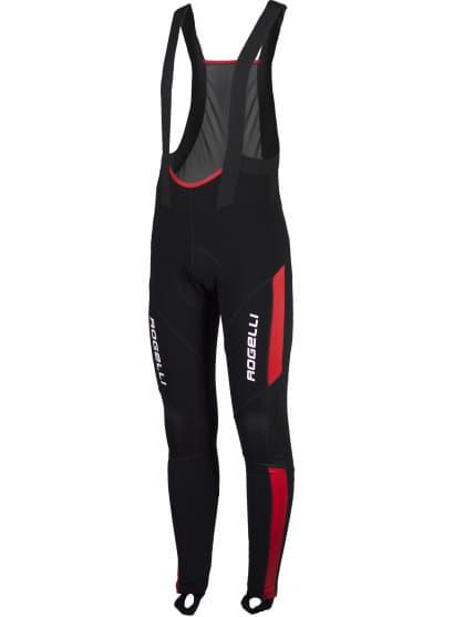 Zateplené cyklokalhoty se softshellovými koleny Rogelli TRAVO s gelovou cyklovýstelkou, černo-červené