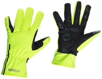 Slabé softshellové zimní rukavice s protiskluzovou dlaní Rogelli ANGOON, reflexní žluté