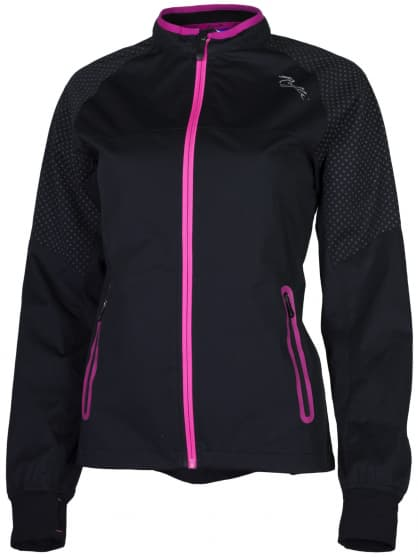 Ultralehká softshellová bunda s výrazným reflexním potiskem Rogelli STERNE, černo-reflexní růžová
