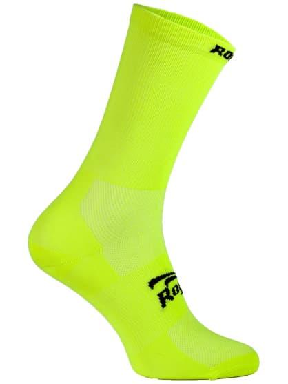 Antibakteriální celobarevné ponožky s mírnou kompresí Rogelli Q-SKIN, reflexní žluté