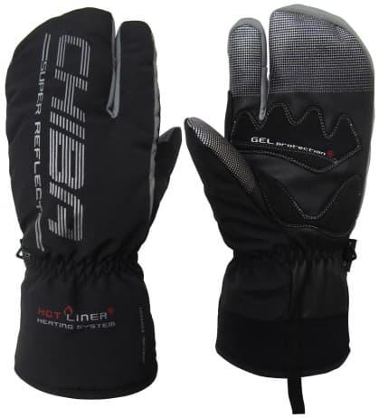 Extrémně hřejivé tříprsté zimní rukavice Chiba ALASKA PLUS s nepromokavou membránou, černé