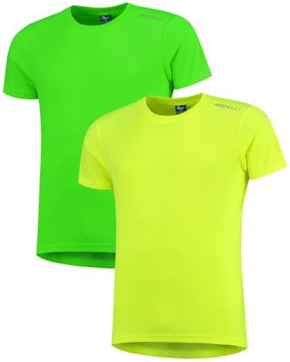 Dětská funkční trička Rogelli PROMOTION MIX FLUORITE KIDS- 2 ks různé velikosti