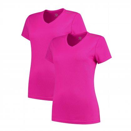 Dámská funkční trička Rogelli PROMOTION LADY - 2 ks různé velikosti, reflexní růžová