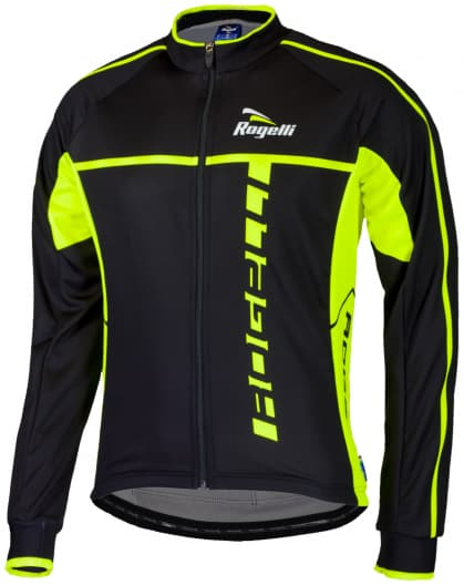 Cyklistický dres Rogelli UMBRIA 2.0 s dlouhým rukávem, černo-reflexní žlutý