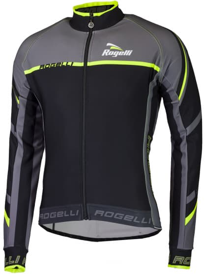 Cyklistický dres Rogelli ANDRANO 2.0 s dlouhým rukávem, černo-reflexní žlutý