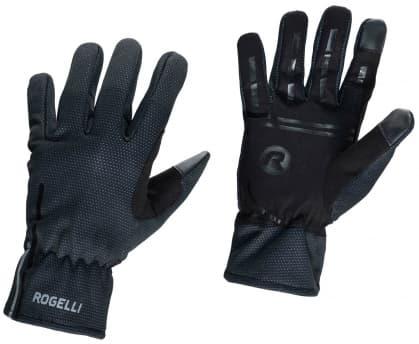 Slabé softshellové zimní rukavice s protiskluzovou dlaní Rogelli ANGOON, černé