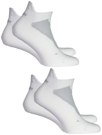Jemně hřejivé ponožky s ochranou paty Rogelli COOLMAX RUN - 2 páry v balení, bílé