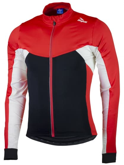 Hřejivý cyklistický dres Rogelli RECCO 2.0 s dlouhým rukávem, černo-červený