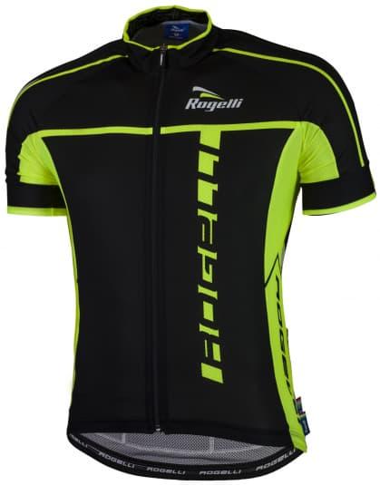 Ultralehký cyklistický dres Rogelli UMBRIA 2.0 s krátkým rukávem, černo-reflexní žlutý