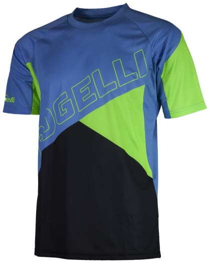 Volný cyklistický MTB dres Rogelli ADVENTURE s krátkým rukávem a bez kapes, modro-zelený